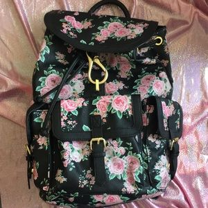 Handbags - Faux Leather Floral Backpack